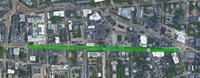 Map of Mt. Auburn Pavement Markings Project Limits