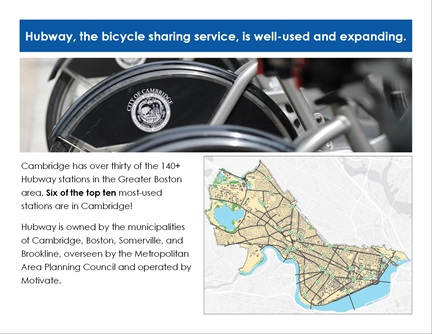 Transportation Trends page 14: Hubway, the bicycle sharing service, is well-used and expanding.