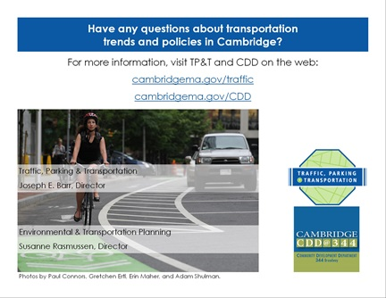 Transportation Trends page 15: For more information, visit TP&T and CDD online.