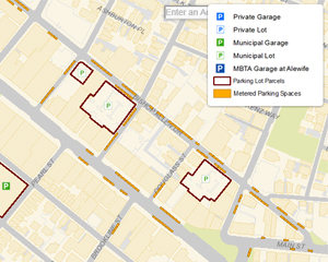 Cambridge, Parking, Lots, Garages, Metered Parking, Meters, GIS, map, traffic
