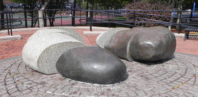 "Photograph of the granite and bronze public sculpture entitled ""Stone Work"" by artist David Philips."