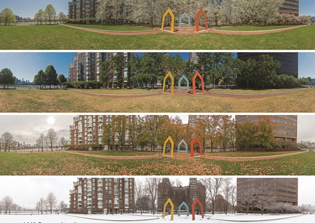 Examples of Richard Hackel's Panoramic Photography in different seasons