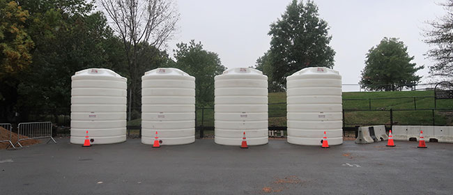 View of City brine tanks from parking lot off Sherman Street, Cambridge, September 2019.
