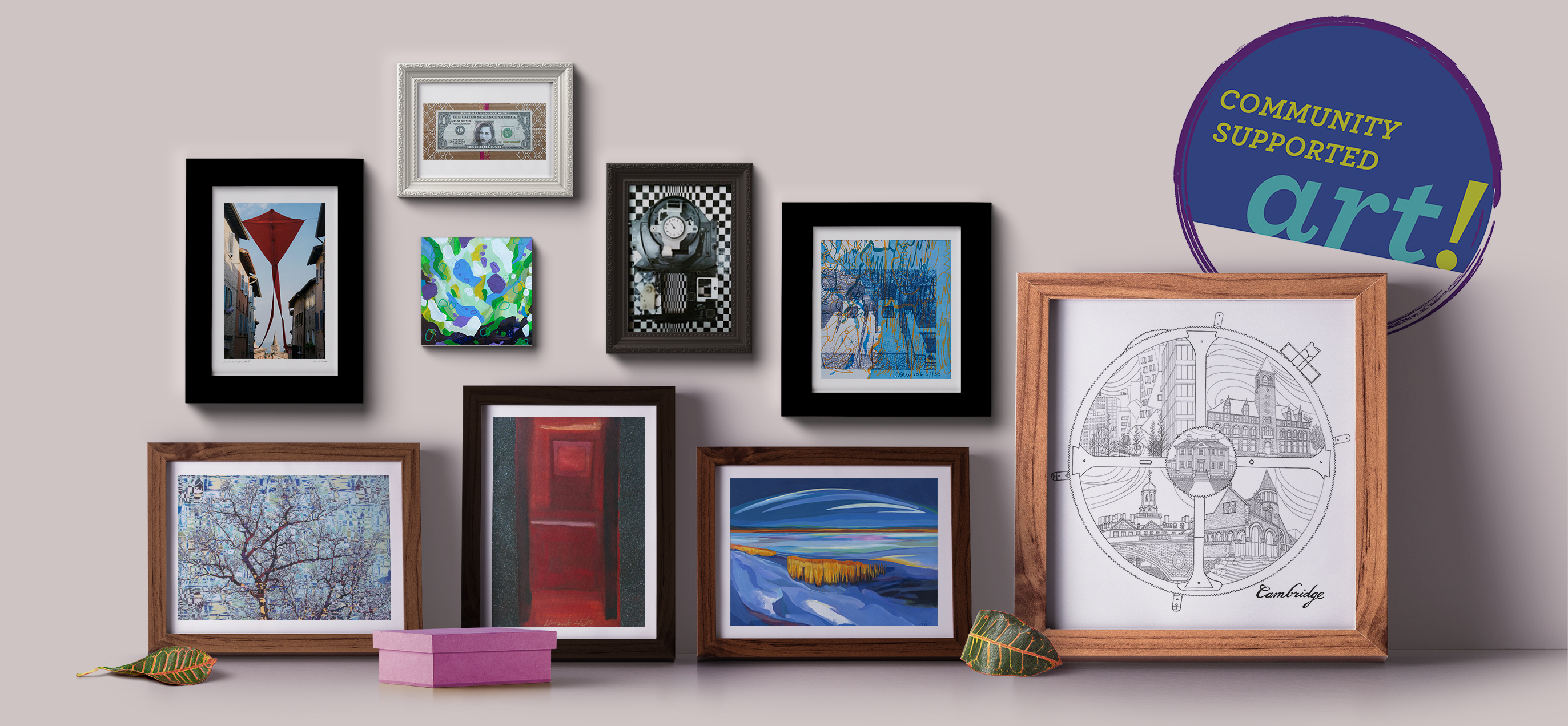 A collection of the 9 2016 Community Supported Artworks, framed grouped against a wall