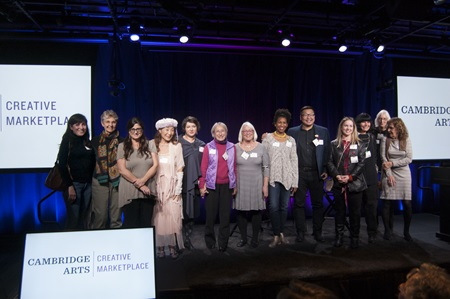 Artists who participated in the 2017 and 2016 Community Supported Art program share the spotlight at the Harvest Party at Google Cambridge, Nov. 1, 2017.