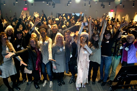 Artists who participated in the 2017 and 2016 Community Supported Art program celebrate with the crowd at the Harvest Party at Google Cambridge, Nov. 1, 2017.