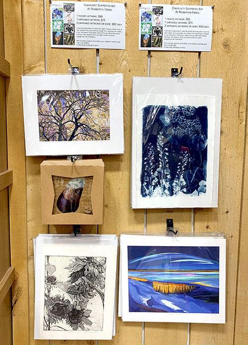 Cambridge Arts Community Supported Art display at Pemberton Farms Marketplace in Cambridge.