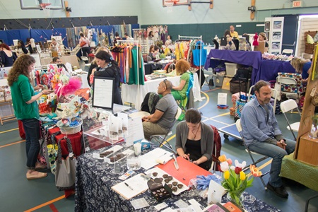 An overall photo of one of the crafts fairs during Cambridge Open Studios.