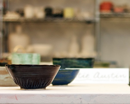 A close-up shot of a ceramic bowl in an artist studio during Cambridge Open Studios.