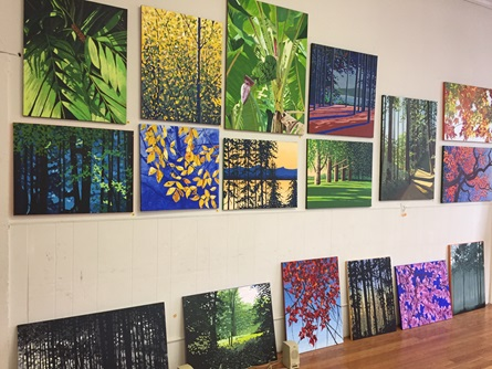 A grouping of colorful paintings  of nature by a Cambridge Arts Open Studios artist