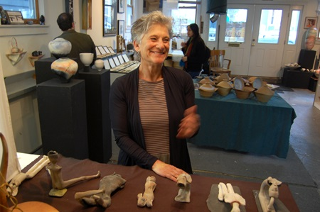 Artist Judith Motzkin with some of her sculptural works
