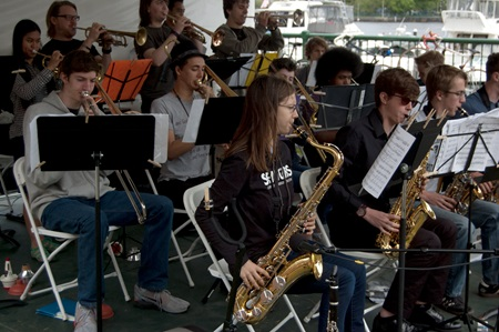 Cambridge Rindge and Latin School Big Band performs.