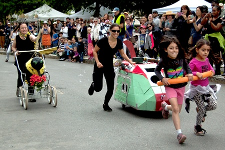 Participants racing in the People's Sculpture race