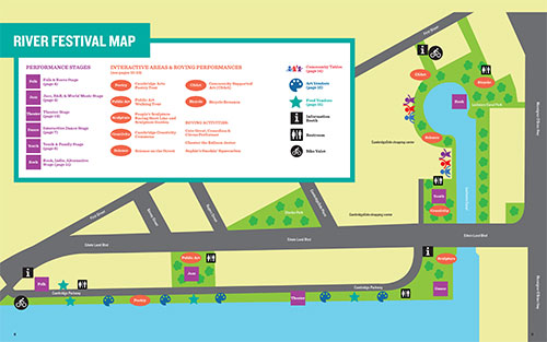 Map to 2018 Cambridge Arts River Festival