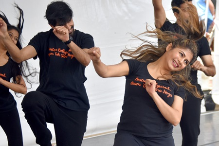 Boston Bollywood performs on the Interactive Dance Stage during the 2019 Cambridge Arts River Festival.