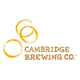"Three yellow circles are above and slightly to the left of the words ""Cambridge Brewing Co."""