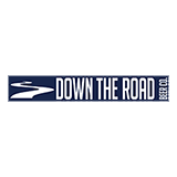 "The outline of a river in white is next to the words ""Down the Road Beer Co"" written in white. All is on top of a dark blue rectangular background."