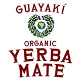 "In between the words ""Guuyaki"" and ""Organic Yerba Mate"" is a green wreath"