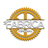"The word ""Fabrica"" in white is over a golden circular gear"