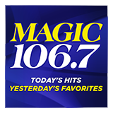 "The words ""Magic 106.7 Today's Hits Yesterday's Favorites"" are written on a dark blue background"