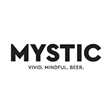 "The word ""Mystic"" is written in large black font and beneath it are the words ""Vivid. Mindful. Beer."""