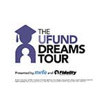 "Purple silhouette of someone in a cap and gown next to words saying ""The UFund Dreams Tour"""