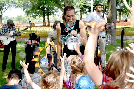Vanessa Trien & The Jumping Monkeys perform at Magazine Beach as part of Cambridge Arts'