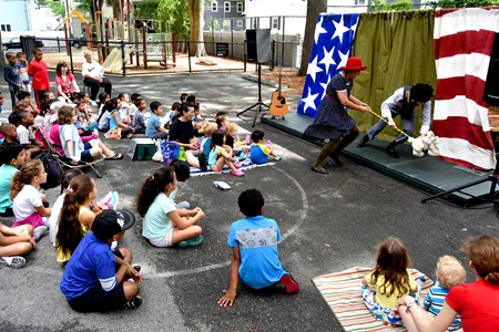 Bright Star Theatre performs for Summer In The City at the Kennedy Longfellow School, July 23, 2018.