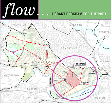 """Flow: A Grant Program for the Port"" graphic with Cambridge neighborhood map."