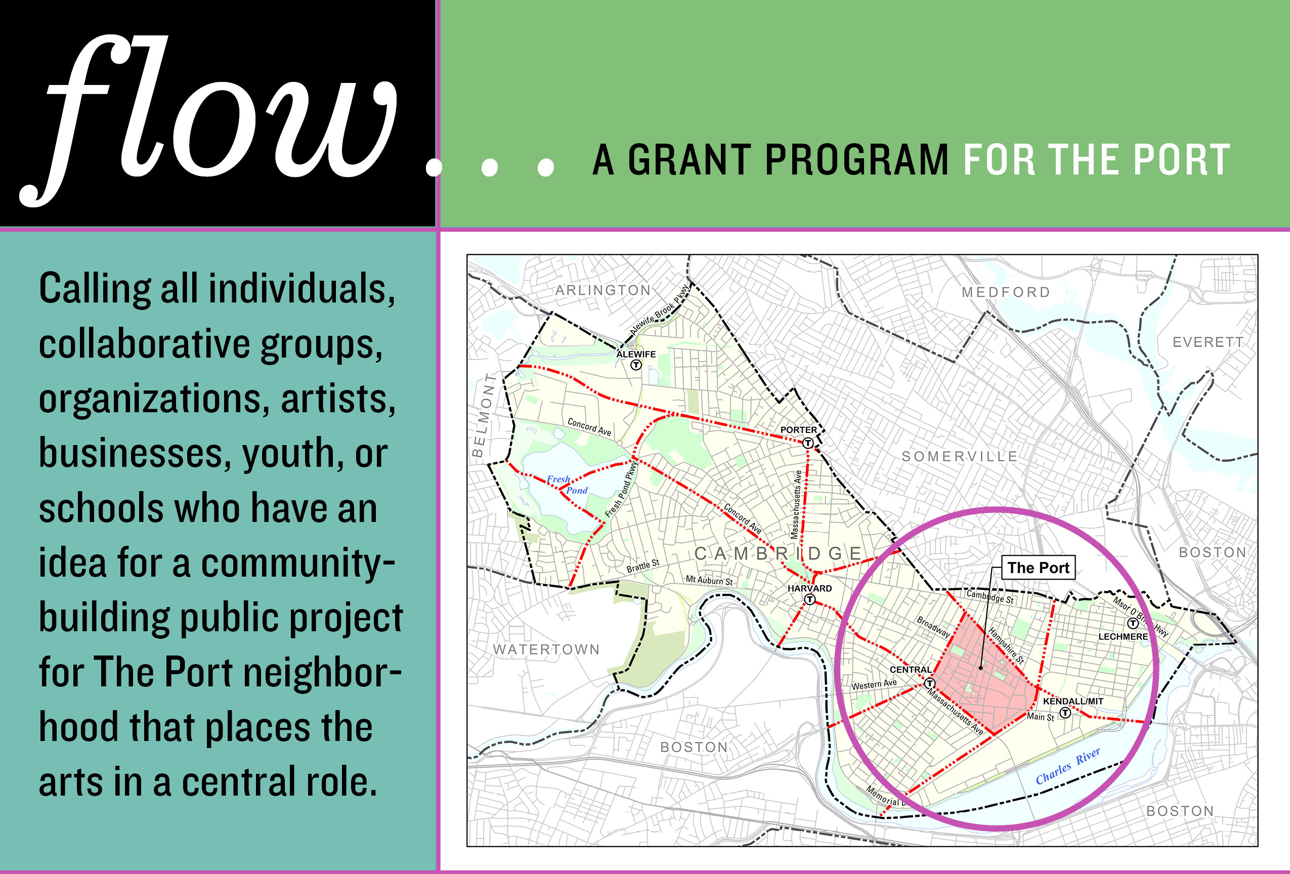 Flow a grant program for The Port: Calling all individuals, collaborative groups, organizations, artists, businesses, youth, or schools who have an idea for a community building project for The Port neighborhood that places the arts in a central role.