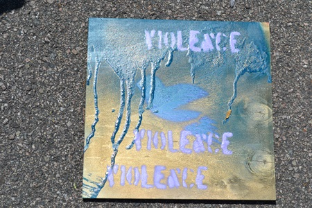 PAYC 2012 spray painted panel, stop violence
