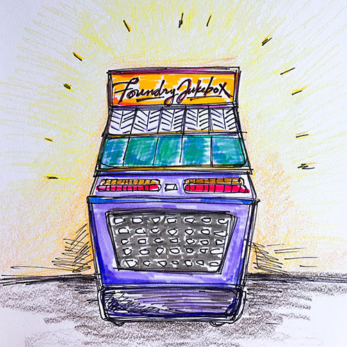Elisa Hamilton's sketch of a jukebox stocked with recordings of community stories that she plans to create for Cambridge's Foundry.