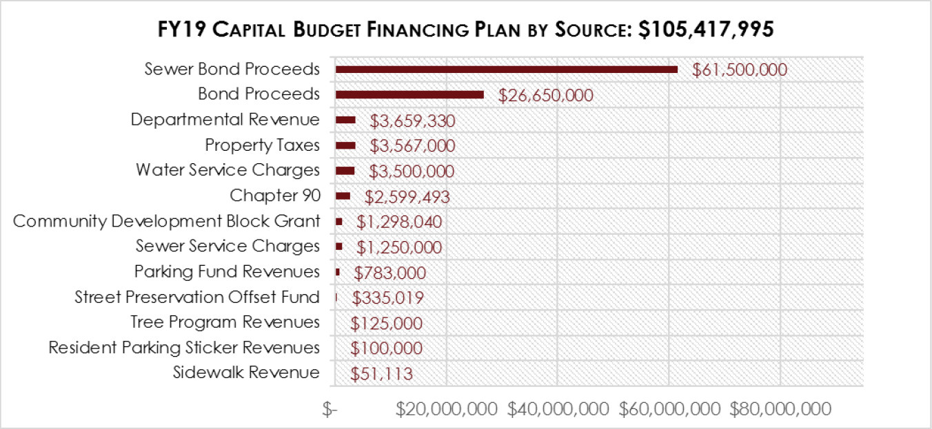Chart detailing the capital budget financing plan by source in the FY19 Submitted Budget