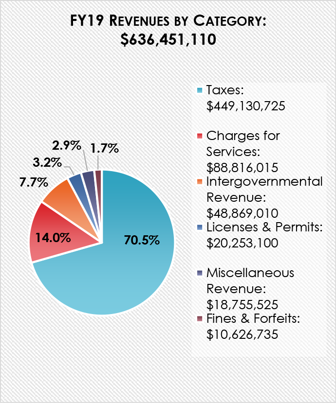 Chart breaking down revenues by category in the FY19 Submitted Budget
