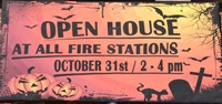 halloween open house sign