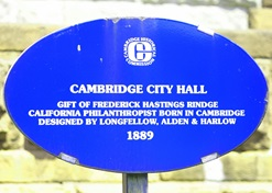 Blue oval historic marker for Cambridge City Hall