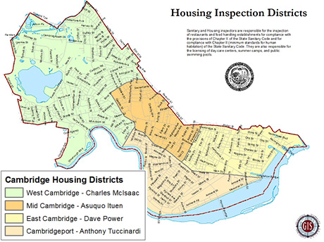 map of Cambridge housing districts