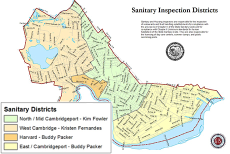 map of Cambridge sanitary districts
