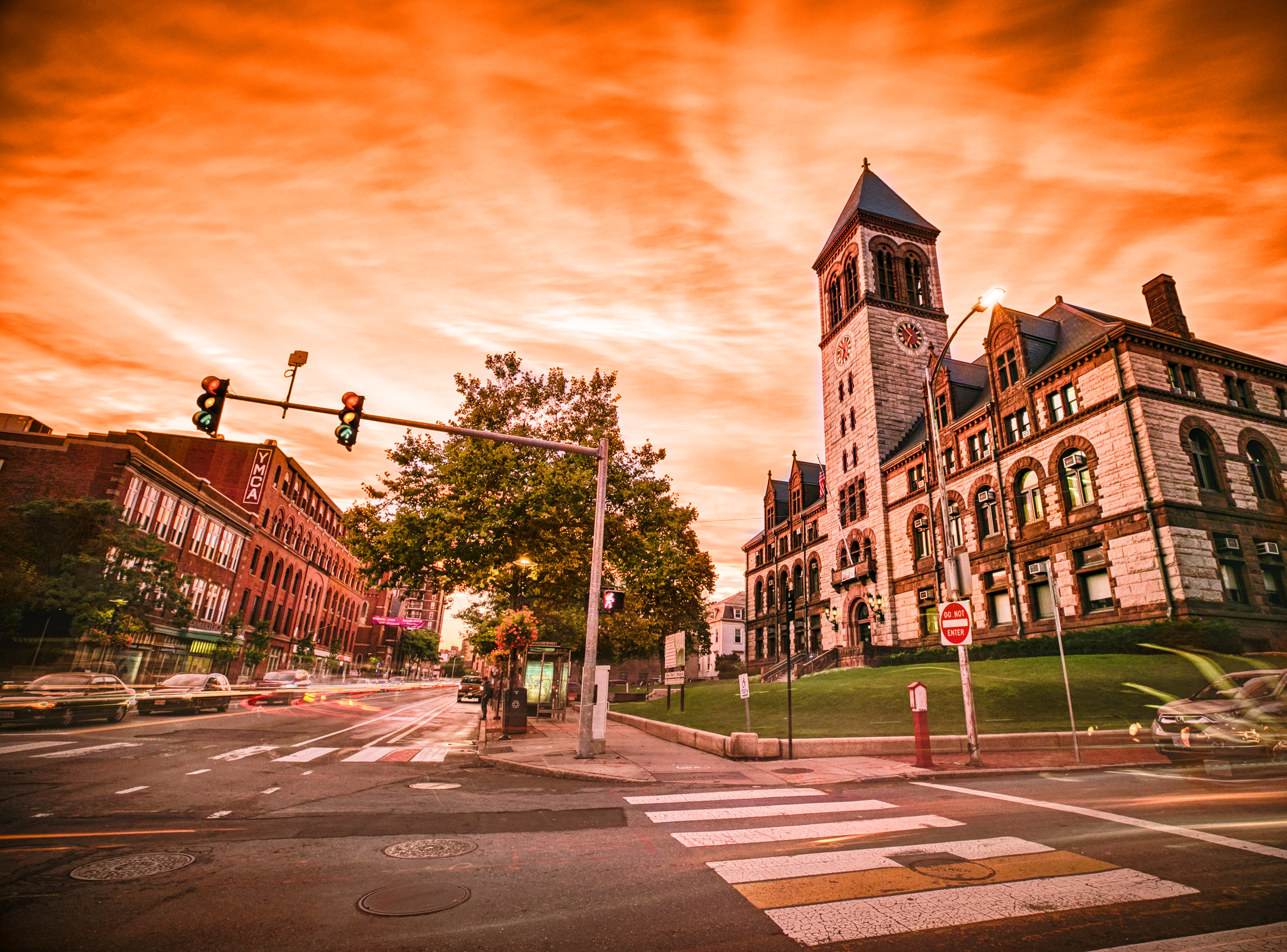 Cambridge City Hall with Orange Sunset by Kyle Klein