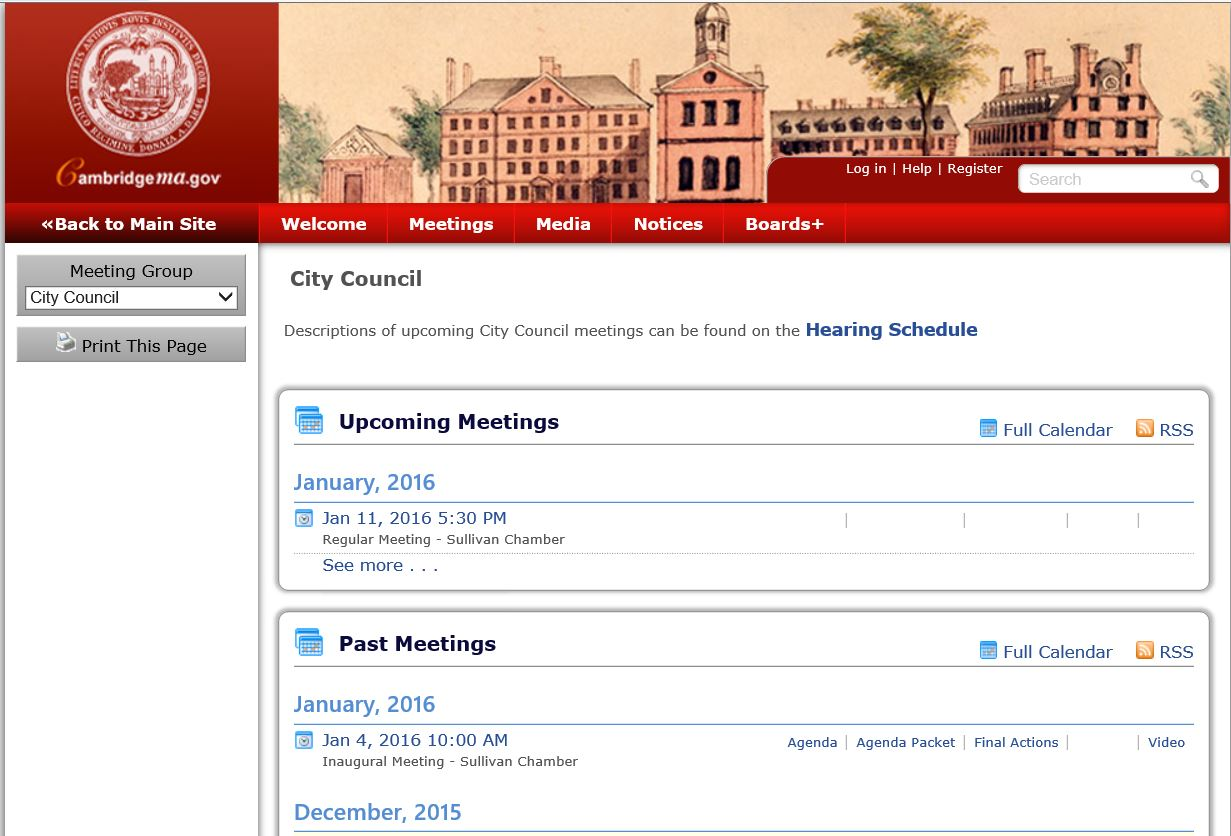 new portal for city council meeting minutes and agendas city of