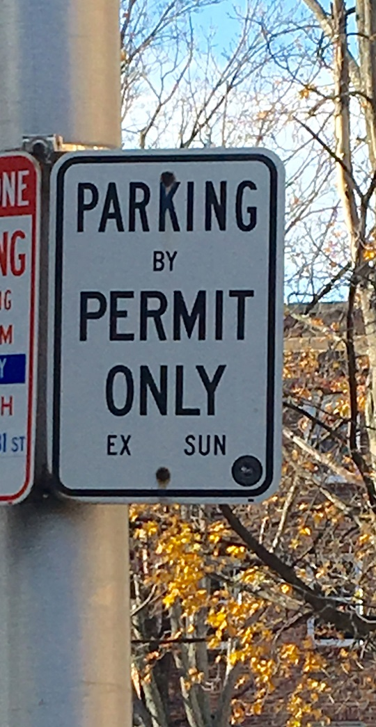 Resident Permit Parking Only Sign