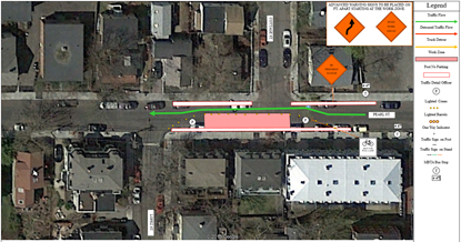 Map of traffic detour on Pearl St