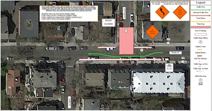 Traffic detour route on Pearl Street