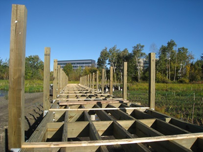 Framing of boardwalk across main basin_October 16 2012