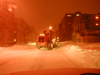 Snow clearing operations at night