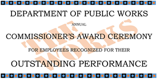 DPW Commissioner's Award Ceremony Banner