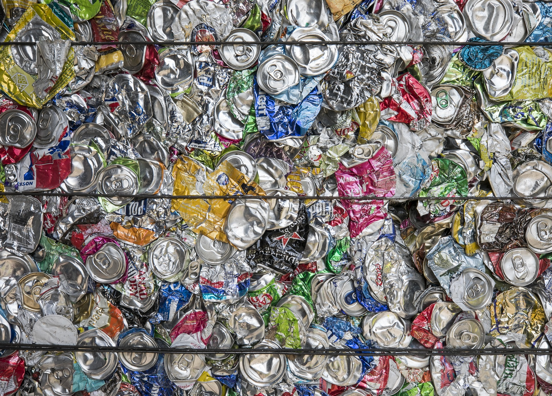 Bundles of Compressed Aluminum Cans for Recycling