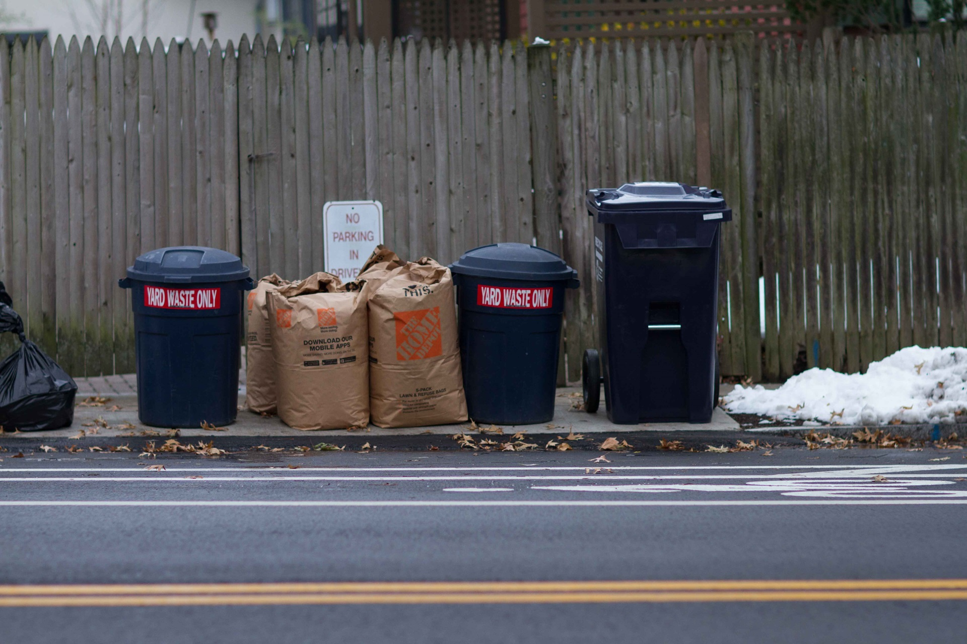 Yard Waste at Curb in Barrels and Bags
