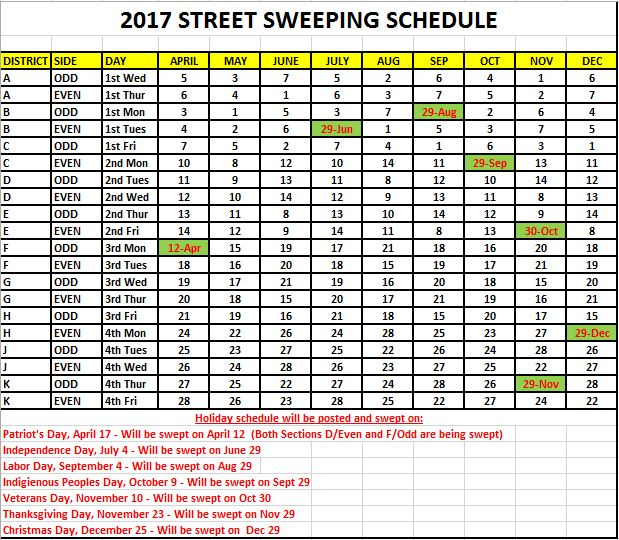 2017 Street Sweeping Schedule