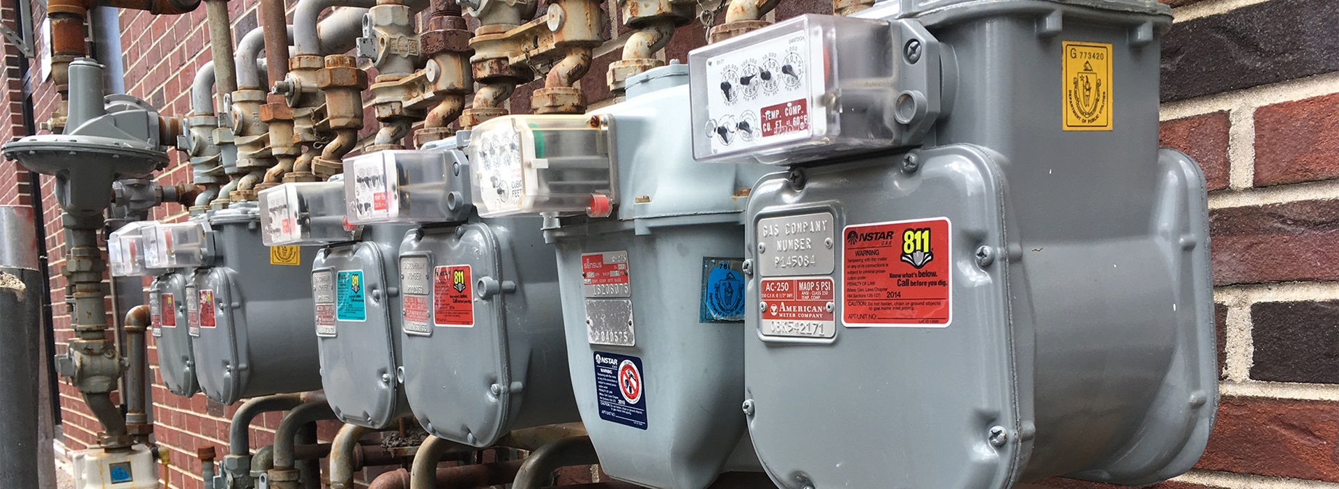 Bank of gas meters